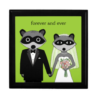 Raccoons Wedding Bride and Groom with Custom Text Large Square Gift Box