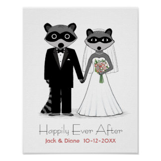 Raccoons Wedding Bride and Groom with Custom Text Poster