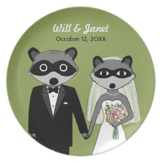 Raccoons Wedding - Bride and Groom with Text Dinner Plate