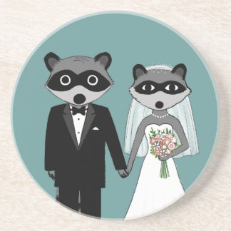 Raccoons Wedding - Cute Bride and Groom Coaster