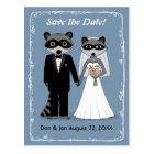 Raccoons Wedding Save the Date Blue Postcard