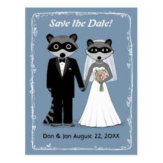 Raccoons Wedding Save the Date Blue Postcard