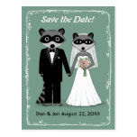 Raccoons Wedding Save the Date Teal