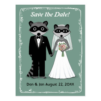 Raccoons Wedding Save the Date Teal Postcard