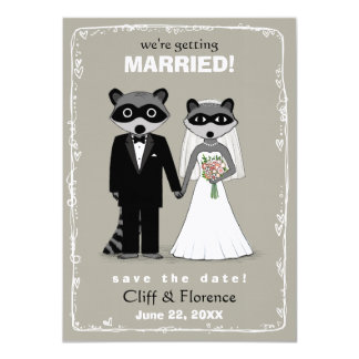 Raccoons Wedding Save the Date (Warm Grey) Card