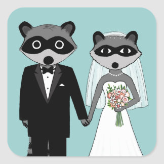 Raccoons Wedding Square Sticker