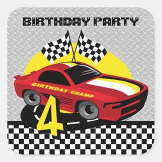 Race Car 4th Birthday Sticker