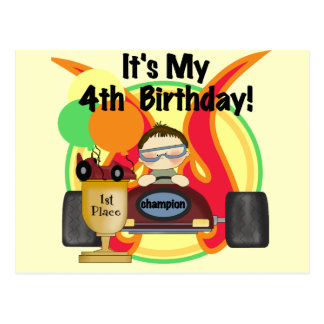 Race Car 4th Birthday Tshirts and Gifts Postcard