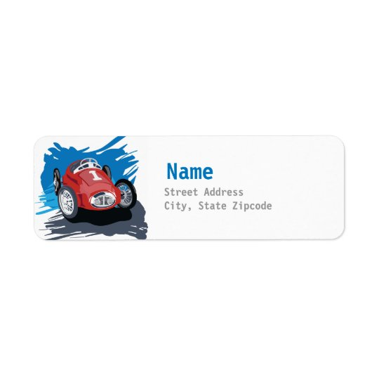 Race Car Address Label
