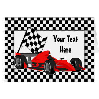 Race Car and Checkered Flag Card