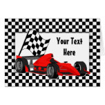 Race Car and Chequered Flag Card