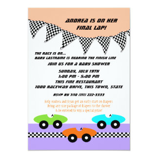 Race Car Baby Shower 13 Cm X 18 Cm Invitation Card