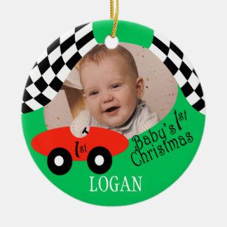 Race Car Baby's 1st Christmas Round Ceramic Decoration