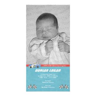 Race Car Birth Announcement Photo Greeting Card