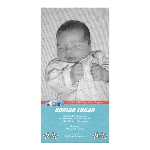 Race Car Birth Announcement Custom Photo Card