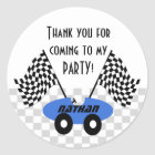 Race Car Birthday Classic Round Sticker