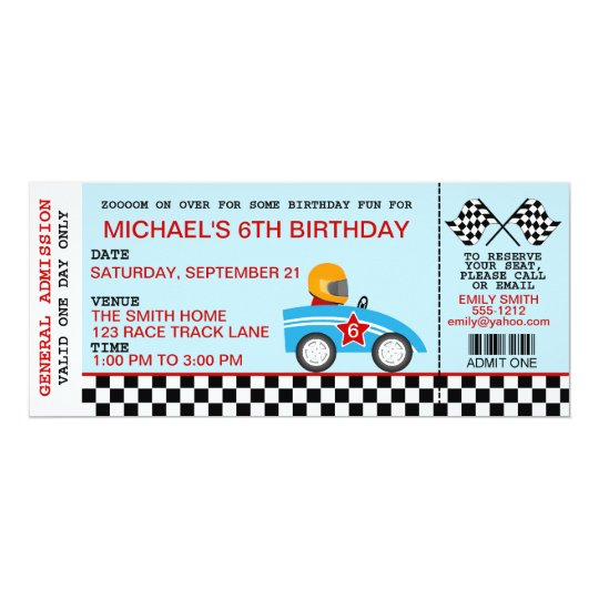 Race Car birthday invitation customisable