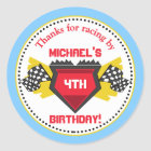 Race Car Birthday Party Favour Stickers