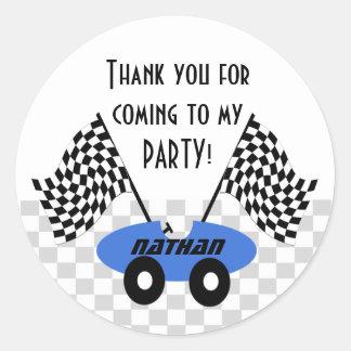 Race Car Birthday Classic Round Sticker