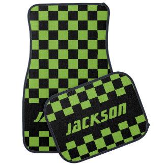 Race Car Checkered Flag   Black & Lime Green Car Mat