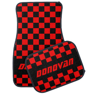 Race Car Checkered Flag Pattern | Black & Red Car Mat