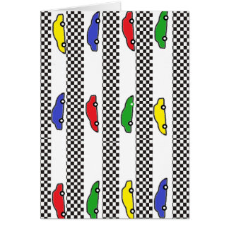 race car colorful greeting cards