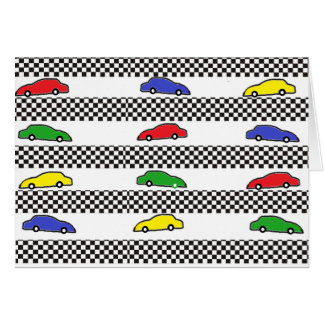 race car colorful greeting card