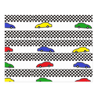 race car colorful post card