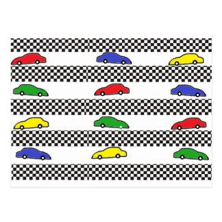 race car colorful postcards