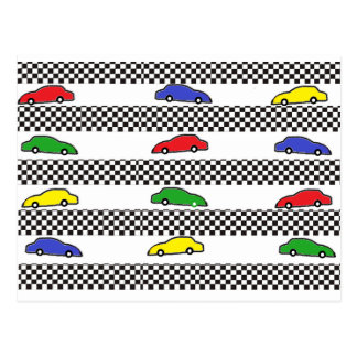 race car colorful postcard