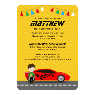 Race Car Driver 13 Cm X 18 Cm Invitation Card