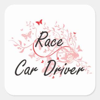 Race Car Driver Artistic Job Design with Butterfli Square Sticker