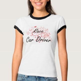 Race Car Driver Artistic Job Design with Butterfli T-Shirt