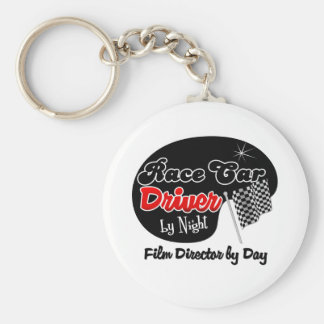 Race Car Driver by Night Film Director by Day Basic Round Button Key Ring