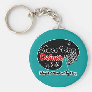 Race Car Driver by Night Flight Attendant by Day Basic Round Button Key Ring