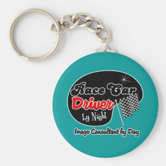 Race Car Driver by Night Image Consultant by Day Basic Round Button Key Ring