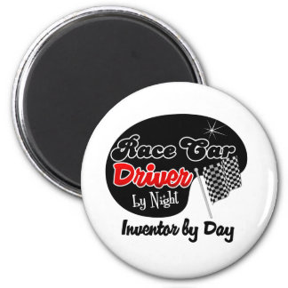 Race Car Driver by Night Inventor by Day 6 Cm Round Magnet