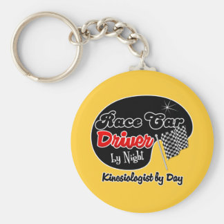 Race Car Driver by Night Kinesiologist by Day Basic Round Button Key Ring
