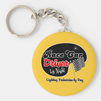 Race Car Driver by Night Lighting Technician by Da Basic Round Button Key Ring