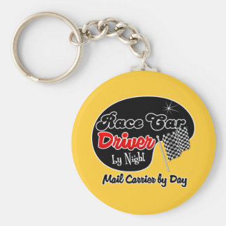 Race Car Driver by Night Mail Carrier by Day Basic Round Button Key Ring