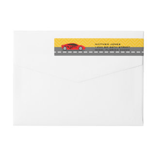 Race Car Driver Wraparound Return Address Label