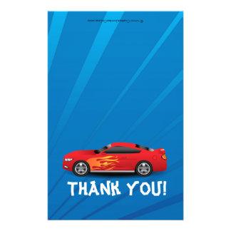 Race Car Flames Boy's Birthday Thank You Fold-Over Flyers