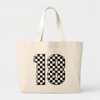 race car number 18 tote bags
