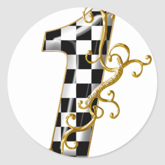 race car number 1 classic round sticker