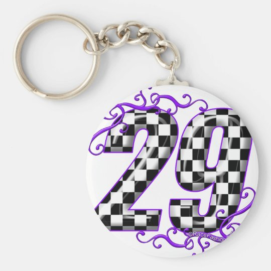 Race car number 29 basic round button key ring