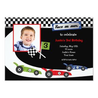 """Race Car Photo Birthday Party Invitations 5"""" X 7"""" Invitation Card"""