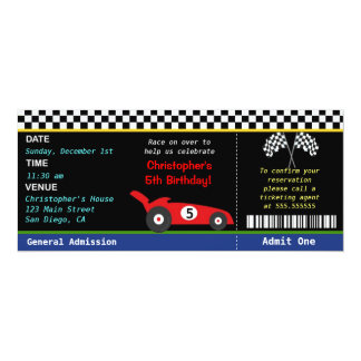 Race Car Racer Birthday Invitation