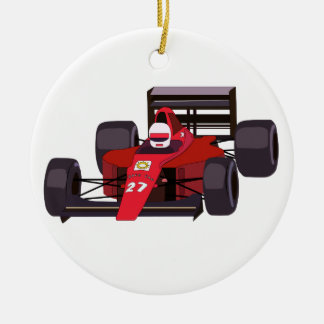 Race Car Round Ceramic Decoration