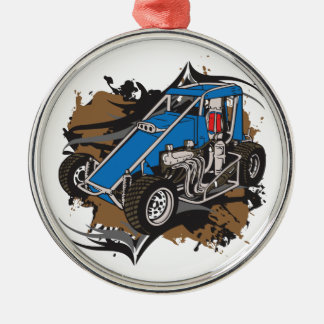 Race Car Silver-Colored Round Decoration
