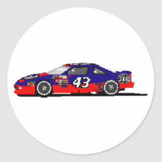 Race Car Round Stickers